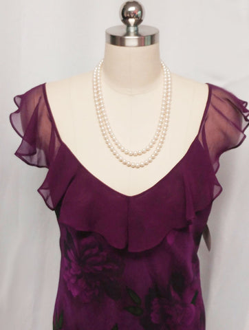 VALERIE STEVENS SHEER CHIFFON PEIGNOIR & NIGHTGOWN SET IN SUGAR PLUM - NEW WITH TAGS