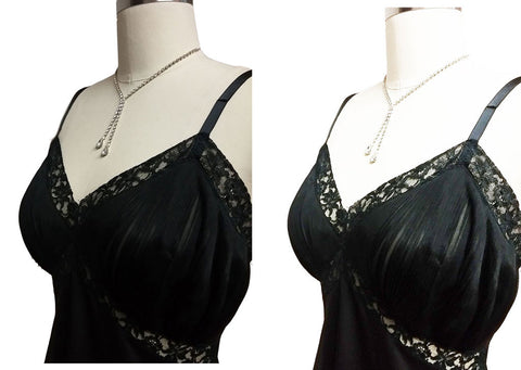 VINTAGE '50s / '60s VANITY FAIR SOPHISTICATED BLACK LACE PLEATED SLIP -HARD TO FIND LARGE SIZE