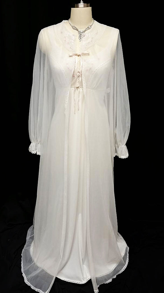 VINTAGE VANITY FAIR BRIDAL WEDDING NIGHT LACE & EMBROIDERED FLORAL PEIGNOIR & NIGHTGOWN SET