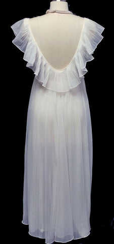 VINTAGE VANITY FAIR WHITE PLEATED DOUBLE NYLON NIGHTGOWN IN ANGEL WHITE