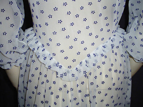 VINTAGE '40s / '50s VANITY FAIR SPRING & SUMMER NAVY & WHITE FLOCKED BIAS-CUT PEPLUM RUFFLED DRESSING GOWN WITH A 10-FOOT GRAND SWEEP