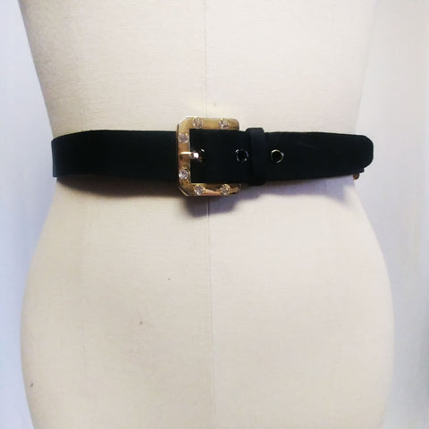 VINTAGE VARLET DE LAGRANGE BLACK SATINY RHINESTONE BELT MADE IN PARIS, FRANCE
