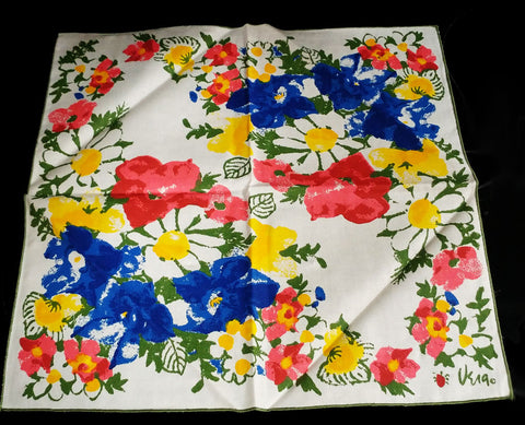 VINTAGE '60s / '70s NEW VERA NEUMANN LADYBUG LOGO LINEN PLACEMAT & NAPKIN SET - NEW OLD STOCK
