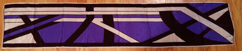 VINTAGE 60s / 70s VERA NEUMANN RECTANGLE SILK SCARF IN PURPLE & BLACK