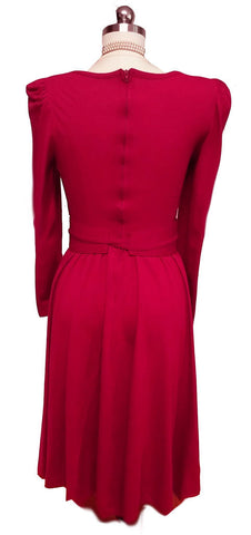VINTAGE 60s / 70s VICKY VAUGHN SCARLET FULL SKIRT JERSEY-LIKE DRESS WITH CUMMBERBUND