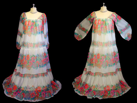 VINTAGE 1970's VICTOR COSTA SHEER FLORAL GRAND SWEEP RICH HIPPY DRESS