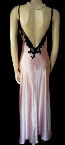 SOLD - VICTORIA'S SECRET SATINY SILK & BLACK LACE BIAS CUT NIGHTGOWN & FREE MATCHING VELOUR ROBE