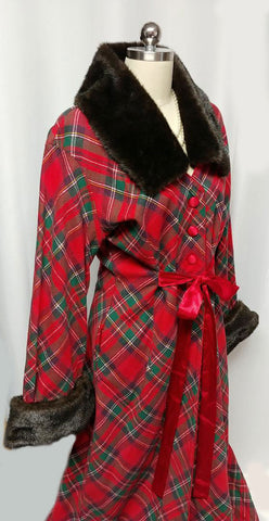 NEW OLD STOCK WITH TAGS - GORGEOUS RED PLAID DRESSING GOWN / HOSTESS DRESS ADORNED WITH FAUX FUR COLLAR & CUFFS WITH A GRAND SWEEP - PERFECT FOR CHRISTMAS ENTERTAINING OR WHEN OPENING PRESENTS
