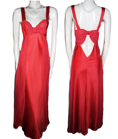 VINTAGE VICTORIAS SECRET SHEER NYLON CHIFFON & SATIN NIGHTGOWN IN POPPY