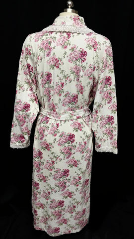 VINTAGE VICTORIA'S SECRET COUNTRY GIRL TURKISH COTTON ROBE ADORNED WITH PINK & MAGENTA FLOWERS