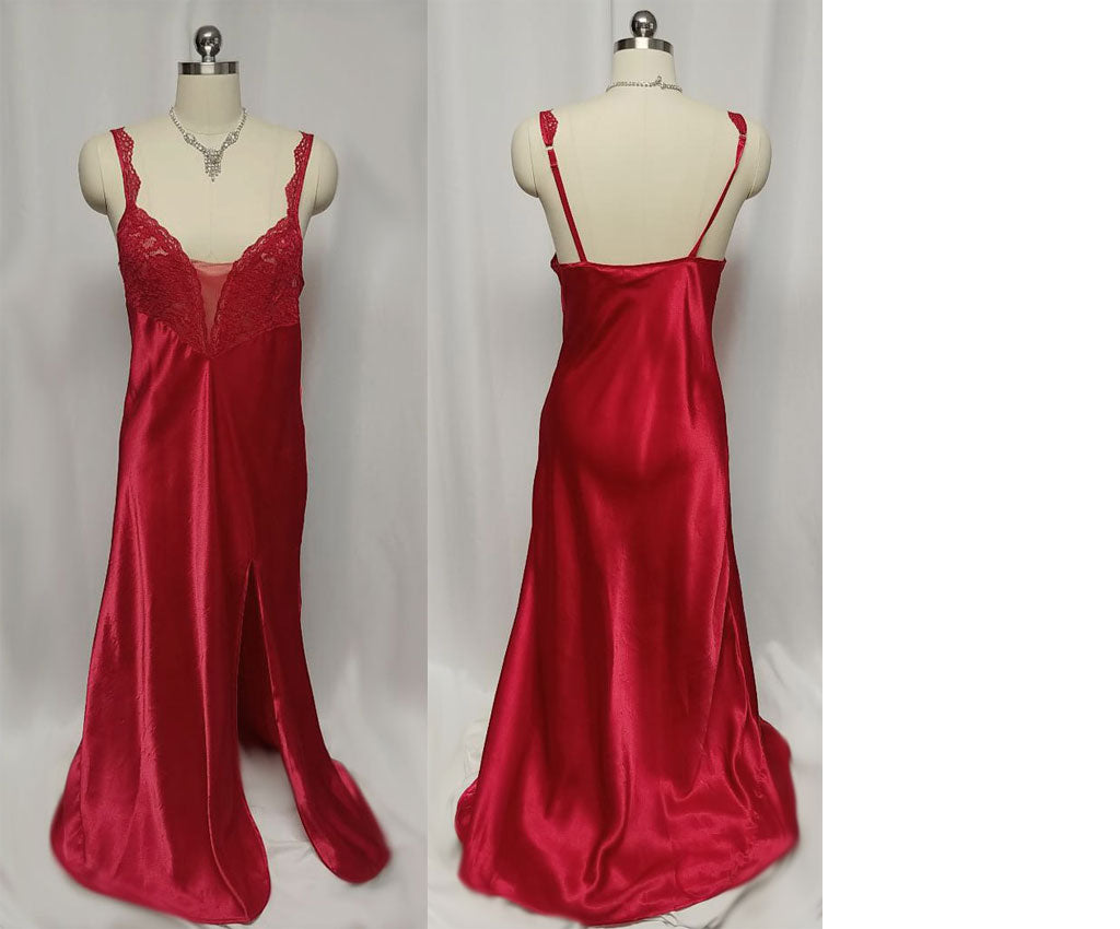 SOLD - VINTAGE VICTORIAS SECRET LACE & MESH SATINY NIGHTGOWN IN HEARTBREAK RED - PERFECT FOR VALENTINE'S DAY AND CHRISTMAS