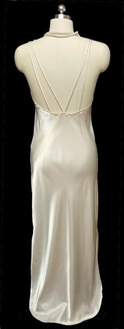 VINTAGE VICTORIA'S SECRET DESIGNER LINGERIE BRIDAL TROUSSEAU GLEAMING SATIN BIAS NIGHTGOWN WITH A GORGEOUS BACK IN CHAMPAGNE