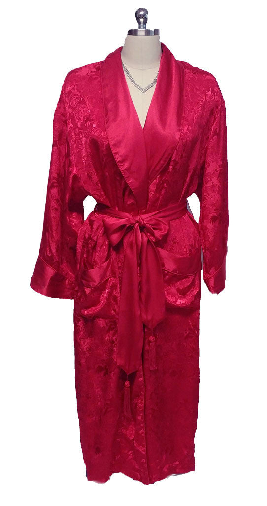 VINTAGE VICTORIA'S SECRET JACQUARD SATIN TRIMMED PEIGNOIR WITH TASSEL LOVE KNOT BELT IN FIRE DRAGON
