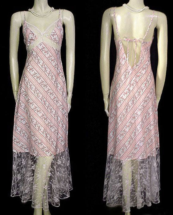 GORGEOUS VINTAGE VICTORIA'S SECRET PINK & GREEN COTTON BIAS CUT NIGHTGOWN WITH A FABULOUS HUGE LACE HEM