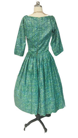 VINTAGE JOHN WOLF FABRIC MEO OF CALIFORNIA GREEN PRINT POLISHED COTTON DRESS IN JOHN WOLF FABRIC WITH METAL ZIPPER