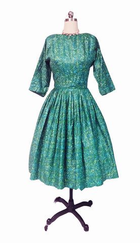 VINTAGE MEO OF CALIFORNIA GREEN PRINT POLISHED COTTON DRESS IN JOHN WOLF FABRIC WITH METAL ZIPPER