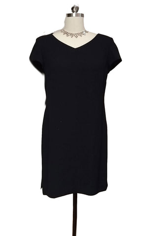 "THE ""LITTLE BLACK DRESS"" IN CREPE ADORNED WITH 3 ROWS OF SPARKLING BEADS IN BACK"