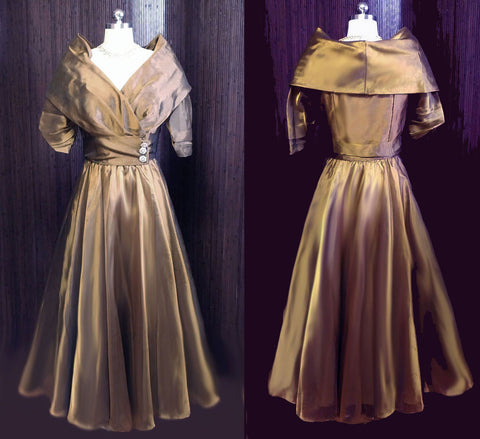 GORGEOUS VINTAGE WATTERS & WATTERS GRAND SWEEP BRONZE ORGANZA & TAFFETA EVENING BALL GOWN WITH PICTURE COLLAR