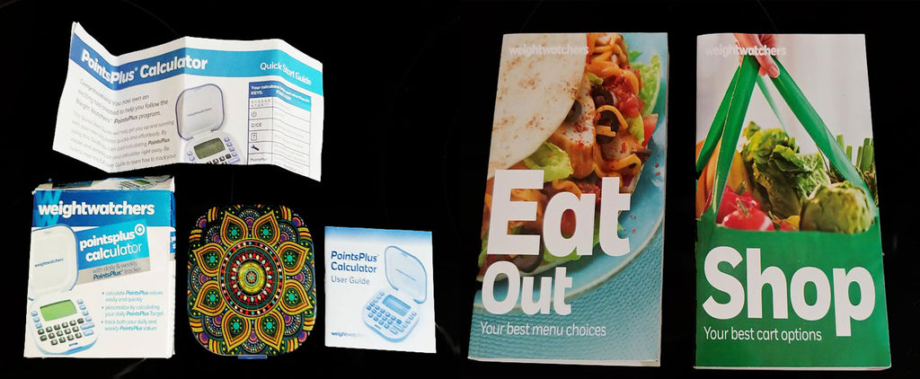 "NEW WEIGHT WATCHERS POINTSPLUS CALCULATOR NEW IN BOX WITH GORGEOUS KALEIDOSCOPE SKIN PLUS ""EAT OUT"" & ""SHOP"" BOOKS"