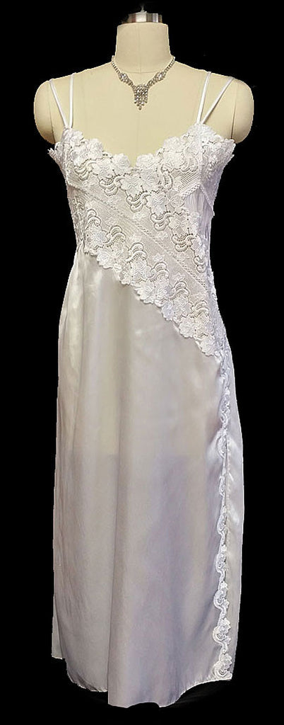 FABULOUS VINTAGE IMPORTED BRIDAL SATIN NIGHTGOWN WITH HEAVY LACE AND PLEATS IN BRIDAL WHITE - NEW OLD STOCK