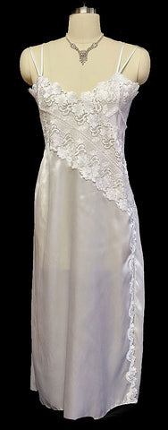 FABULOUS VINTAGE FOREIGN MADE SATIN NIGHTGOWN WITH HEAVY LACE AND PLEATS IN BRIDAL WHITE - NEW OLD STOCK
