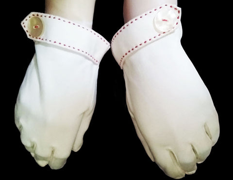 VINTAGE '50s / '60s WHITE COTTON GLOVES WITH RED STITCHING & BUTTON ACCENT