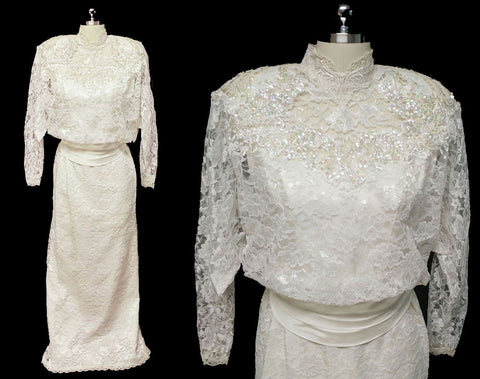 GLAMOROUS VINTAGE '70s / '80s ALFRED ANGELO LACE SEQUINS, PEARLS & APPLIQUES WEDDING GOWN