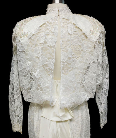 VINTAGE '70s / '80s ALFRED ANGELO LACE SEQUINS, PEARLS & APPLIQUES WEDDING GOWN