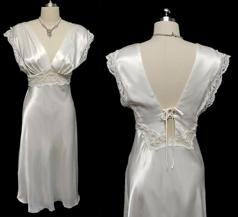 VINTAGE LUXURIOUS BRIDAL TROUSSEAU GLEAMING SATIN &  LACE BIAS NIGHTGOWN