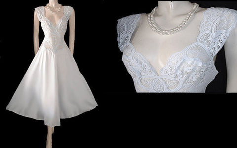 RARE OLGA BRIDAL TROUSSEAU ALL-LACE SPANDEX BODICE NIGHTGOWN IN WHITE SWAN