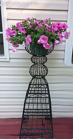 GORGEOUS ELEGANT VINTAGE ORNATE TALL BLACK METAL URN PLANT STAND - PERFECT FOR A PORCH, POOL AREA OR INDOOR ENTRY WAY