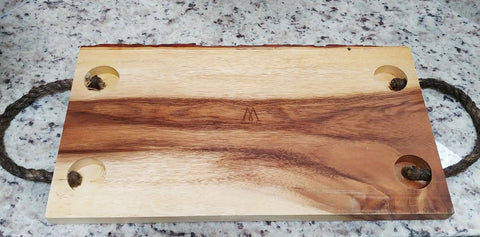 MERITAGE FALL RIVER NATURAL ACACIA WOOD WITH BARK WOODEN CUTTING BOARD BREAD BOARD WITH ROPE HANDLES