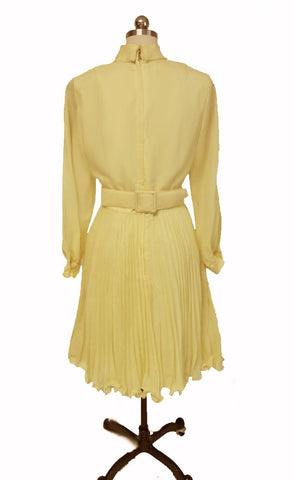 VINTAGE '50s /  '60s PLEATED PARTY DRESS WITH BOW BELT IN LEMONADE