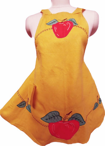 VINTAGE '50S HAND MADE EMBROIDERED APPLE BIB APRON - NEW OLD STOCK - NEVER USED