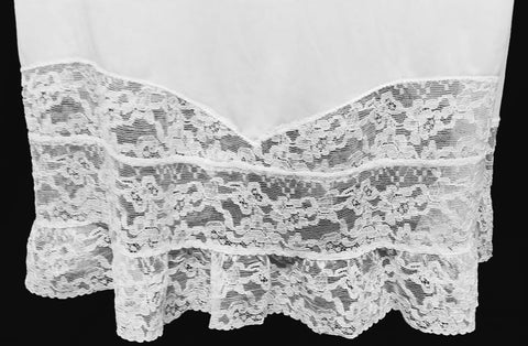 "VINTAGE FANCY YOUTH FORM NYLON TRICOT SLIP WITH 7-1/2"" LACE HEM IN - SIZE 36"