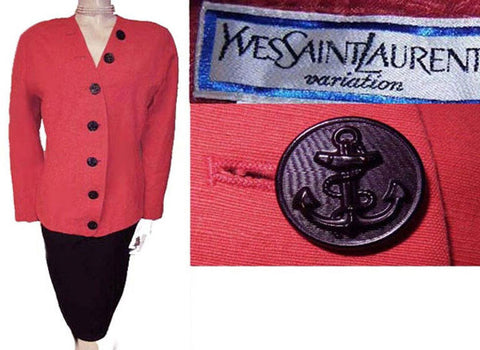 VINTAGE YVES SAINT LAURENT JACKET WITH NAUTICAL BUTTONS - MADE IN FRANCE