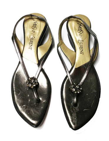 AUTHENTIC YVES SAINT LAURENT CHUNKY RHINESTONE SANDALS