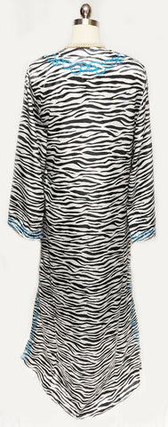 NEW - NEVER WORN - DRAMATIC IMAN BLACK & WHITE ZEBRA WITH TURQUOISE EMBROIDERY DRESSING GOWN /AT HOME LOUNGER/ CAFTAN / POOL DRESS / EVENING GOWN