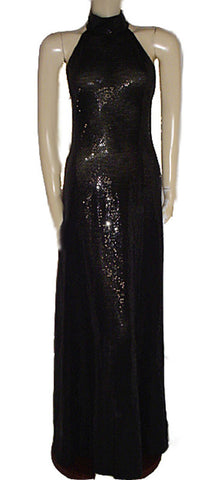 GORGEOUS ST. JOHN COUTURE BY MARIE GRAY BLACK PAILLETTES EVENING GOWN WITH A FABULOUS BACK- PERFECT FOR THE HOLIDAYS