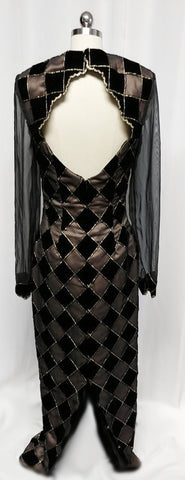 VINTAGE BLACK & NUDE VELVET ILLUSION HARLEQUIN EVENING GOWN WITH A GORGEOUS BACK