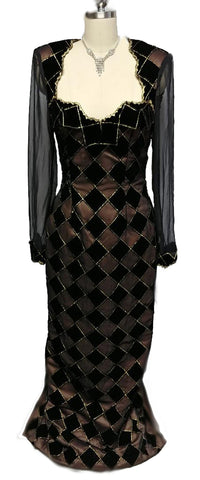 VINTAGE VELVET ILLUSION HARLEQUIN EVENING GOWN WITH A GORGEOUS BACK
