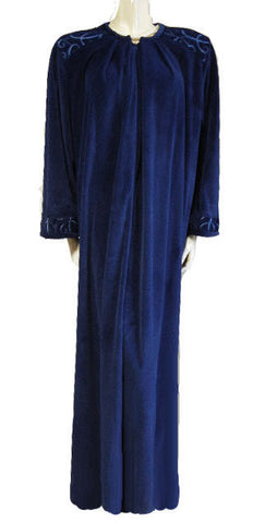 DIAMOND TEA PRE-OWNED? LUXURIOUS VELVET VELOUR ZIP UP ROBE IN WINTER BLUEBERRY - LARGE