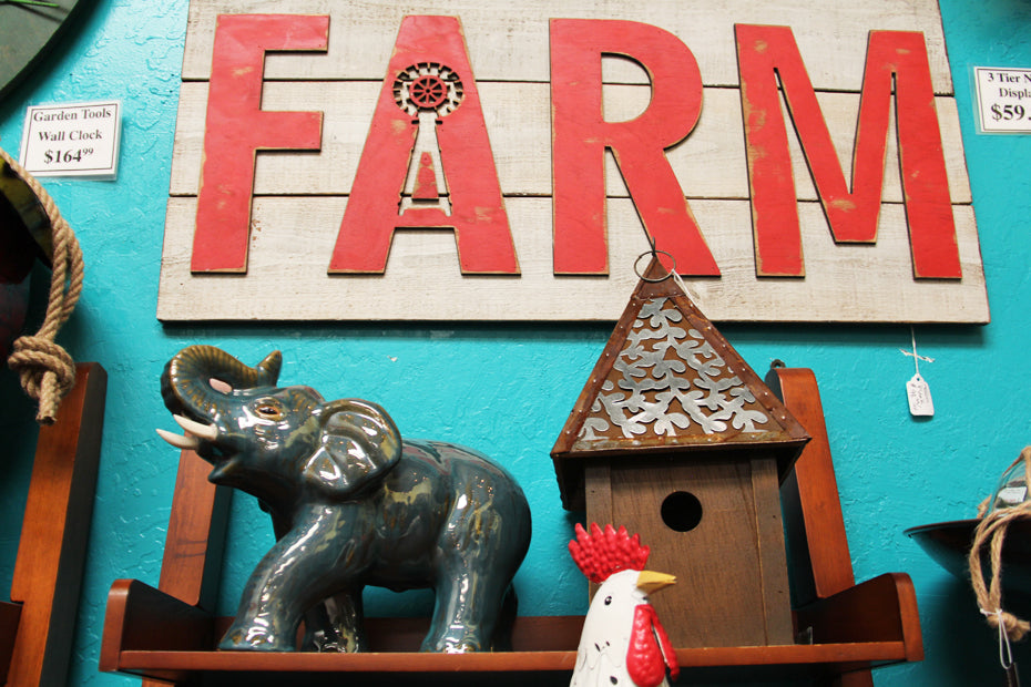 Red farm sign.