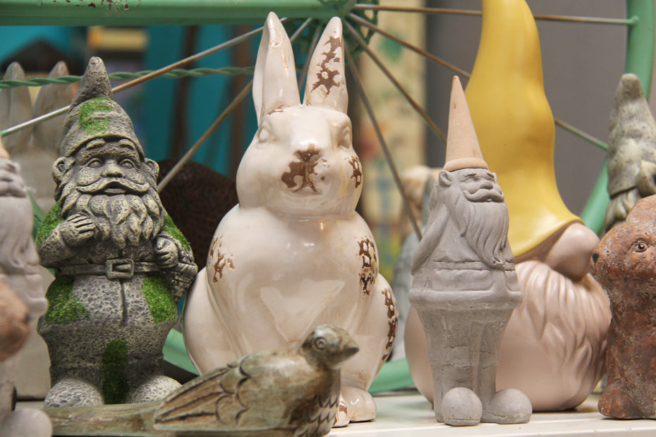 Garden Gnomes and bunny figurine.