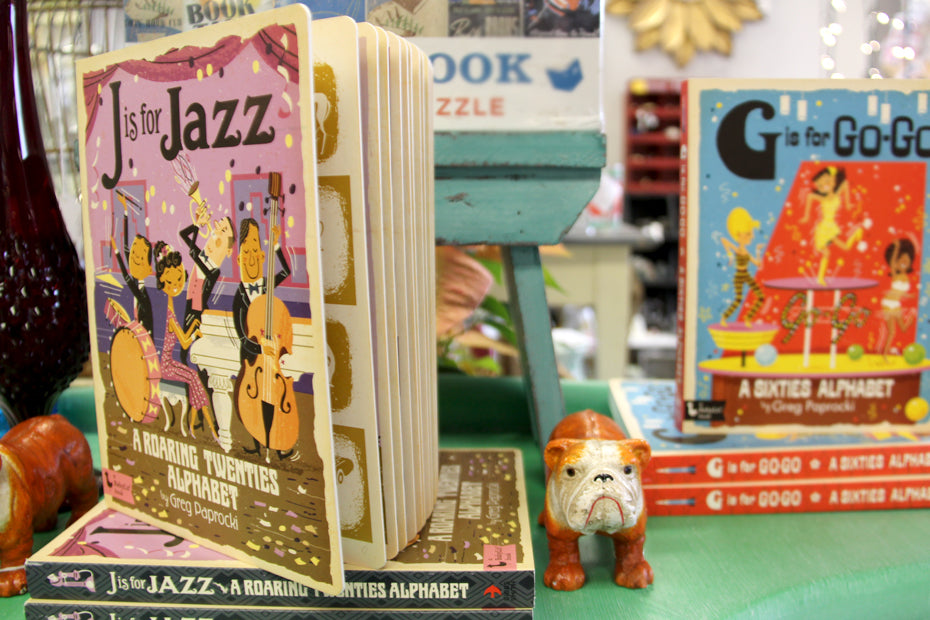 Jazz musician book with cast iron dog