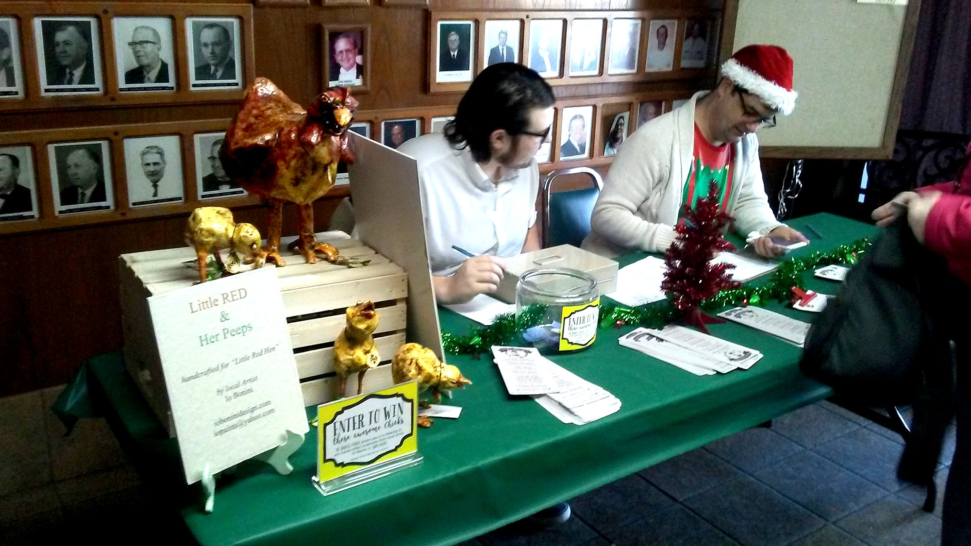 Alex W. and David M. run the front desk at Breakfast with Santa