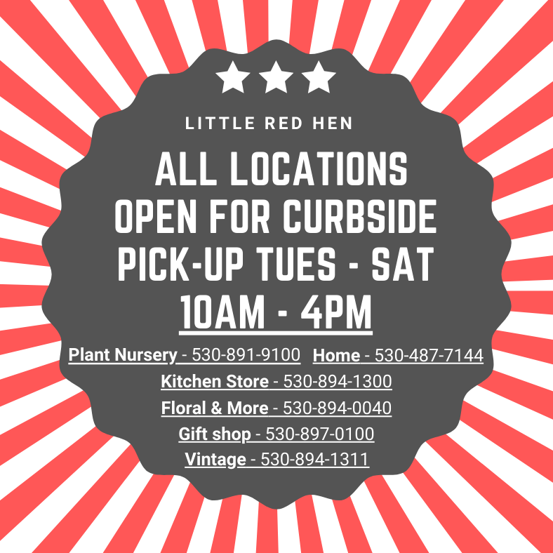 All locations open for curbside pick up Tues - Sat, 10AM - 4PM
