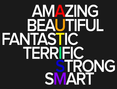 Austims Anagram, Amazing, Beautiful, Fantastic, Terrific, Strong, Smart