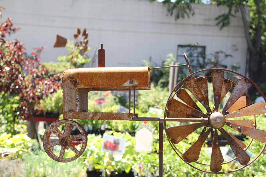 A rust-colored tractor shaped worley gig.