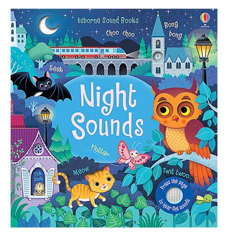 "This book has a front cover showing a dark blue illustration of different nocturnal animals, including a bat, a cat, an owl, a moth, and a cricket. In the middle of the cover is a blue pond with the title, ""Night Sounds"" in white lettering. At the top of the cover behind all the animals is a bridge, a clock tower, a lit lamp, and a half moon in the sky. At the lower right-hand part of the cover is the little speaker for the sounds from the book's buttons."